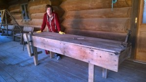 Sharon with workbench